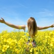 Young happy woman on blooming rapeseed field — Stock Photo #73472245