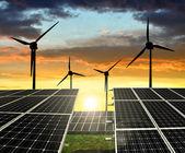 Solar panels with wind turbines — Stock Photo