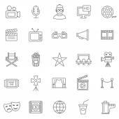 Movie line icons, set. — Stock Photo