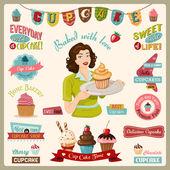 Cupcake Design Elements — Stock Vector