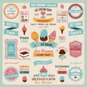 Ice Cream Design Badges — Stock Vector