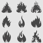 Fire icons set. — Stock Vector
