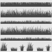 Grass silhouette elements — Stock Vector