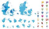 Denmark - highly detailed map — Stock Vector