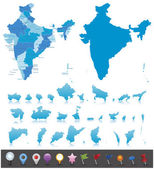 India - highly detailed map. — Stock Vector