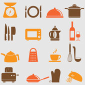 Kitchen and household Utensil Icons — Stock Vector
