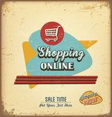 Vintage shopping online label — Stock Vector