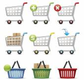 Shopping Carts and Baskets — Stock Vector