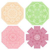 Colorful octagonal ornaments on a white background — Stock Vector