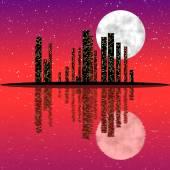 Night city skyline — Stock Photo