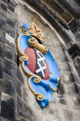 Amsterdam, Netherlands, on July 10, 2014. Architectural details of historical building — Stock Photo