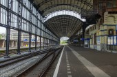 Haarlem, Netherlands, on July 11, 2014. Railway station — Stock Photo
