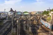 Prague, Czech Republic, on July 5, 2010. Tracks near the Main station — Stock Photo
