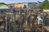 Prague, Czech Republic, on July 5, 2010. Tracks near the Main station — ストック写真
