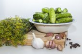 Preparation for salting of cucumbers — Stock Photo