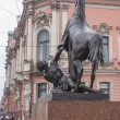 St. Petersburg, Russia, on October 15, 2011. Klodt's well-known sculpture on Anichkov to the bridge — Stock Photo #53544025