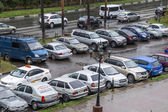 Pushkino, Russia, on September 14, 2014. View of a street parking in the inhabited massif — Stock Photo