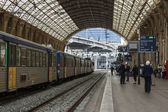 Nice, France, on October 16, 2012. Platforms of the city railway station — Stock Photo