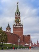 Moscow, Russia, on September 23, 2014. Spasskaya Tower of the Moscow Kremlin — Stock Photo