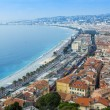 Nice, France, on October 16, 2012. View of the English promenade (Promenade des Anglais) and beach. Promenade des Anglais in Nice - one of the most beautiful and known embankments in Europe — Stock Photo #54131453