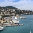 Nice, France, on October 16, 2012. View of city port and the house on the embankment from a high point — Stock Photo #54164435