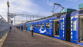 Pushkino, Russia, on October 14, 2014. Cars of a regional electric train — Stock Photo