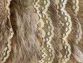 Product from natural fur with finishing from lace — Stockfoto
