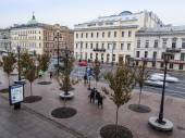 St. Petersburg, Russia, on November 2, 2014. Urban view. Nevsky Avenue in the rainy autumn afternoon — Stock Photo