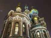 St. Petersburg, Russia, on November 3, 2014. Urban view. The cathedral Church of the Savior on Blood on Griboyedov Embankment in the evening — Foto Stock