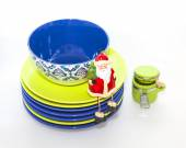 Ceramic kitchen ware of various colors for laying of a New Year's dinner — Stock fotografie