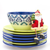Ceramic kitchen ware of various colors for laying of a New Year's dinner — Stock Photo