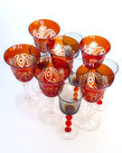 Ware for table layout. Crystal shot glasses and wine glasses — Photo