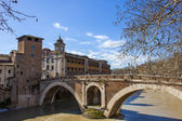 Rome, Italy, on February 25, 2010. A view of embankments of Tiber and the bridge through the river — Stockfoto