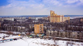 Pushkino, Russia, on March 20, 2011. A view of the city from a window of the multi-storey building in the early spring — Stock Photo