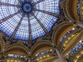 Paris, France, on April 30, 2013. A glass dome in modernist style of the flagman Gallery shop Lafayette, the author Jacques Gruber. — Stock Photo