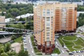 Pushkino, Russia, on August 26, 2011. New inhabited apartment house. Fiber-optical cable of connection to the Internet — Stock Photo