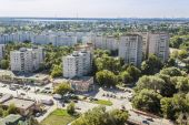 Pushkino, Russia, on August 26, 2011. A view of the city from a high point — Foto de Stock