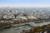 Paris, France, on March 27, 2011. A view from a survey platform on the Eiffel Tower to Seine and its embankments and bridges — Stock Photo