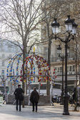 Paris, France, on March 24, 2011. Design of an entrance to the subway, Comedie Francaise stations. Early spring morning, haze. — Stock Photo