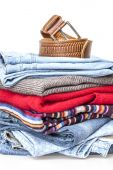 A woolen jumpers and jeans of various shades — Stock Photo