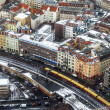 Berlin, Germany, on February 20, 2013. City landscape. A view of houses and the line a subway from height of bird's flight in the winter cloudy afternoon — Stock Photo #62614565