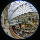Moscow, Russia, on January 20, 2014. Complete circular fisheye view of the trading floor of GUM shop. The GUM is historical sight of Moscow and the recognized center of shopping — Stock Photo