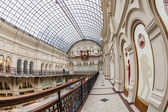 Moscow, Russia, on January 20, 2014. GUM shop trading floor of by fisheye view. The GUM is historical sight of Moscow and the recognized center of shopping — Stock Photo