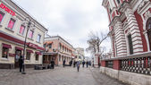 Moscow, Russia, on January 20, 2014. Pedestrian zone Klimentovsky Lane of by fisheye view. Klimentovsky Lane is historical sight of the center of Moscow — Stock Photo