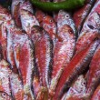 Fresh sea fish on a counter of the market in the Mediterranean city — Stock Photo #63038057