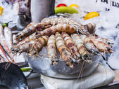 Fresh tiger shrimps on a counter of the market in the Mediterranean city — Stock Photo