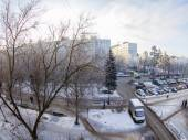 Pushkino, Russia, on January 22, 2014. A view from the window on the winter city and houses of the inhabited massif, by fisheye view — Stock Photo