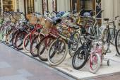 Moscow, Russia, on February 15, 2015. Various bicycles are exposed in a trading floor of GUM shop — Stock Photo