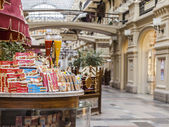 Moscow, Russia, on February 15, 2015. GUM historical shop, one of the most known shopping centers. Interior of a trading floor. A counter with pastries and sweets — Stock Photo