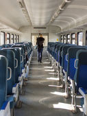 Moscow, Russia, on October 10, 2010. Interior of the car of a regional modern electric train — Stock Photo